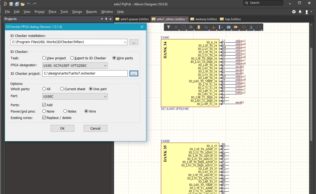 Altium Designer 18 schematic with one part wired by the IO Checker extension.